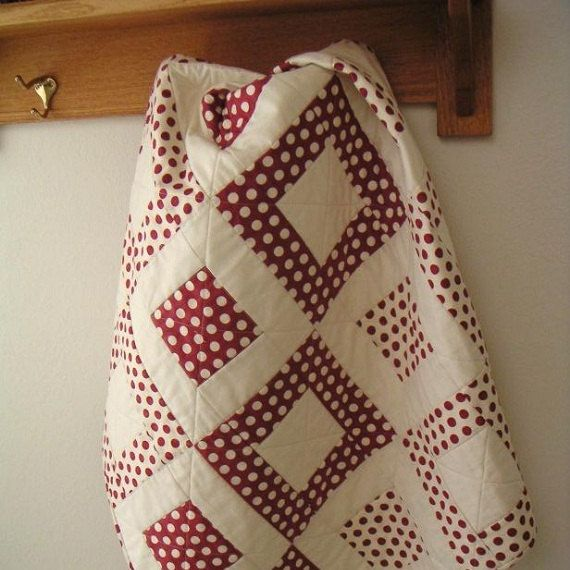 Red and White Polka Dot Baby Quilt by CentralFabrications on Etsy, $65.00