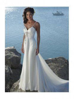 taille empire v-cou chapelle robes de train de mariage de plage