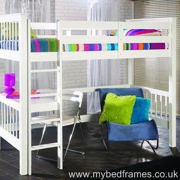 Pavo white wooden study bunk - #bedroom #bunkbed