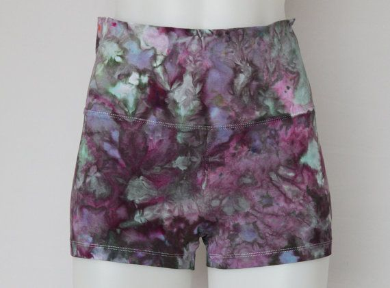 $32 - Tie dye Yoga Shorts Ice Dyed Fold down waist by ASPOONFULOFCOLORS Find this item on https://www.etsy.com/shop/ASPOONFULOFCOLORS?ref=hdr_shop_menu
