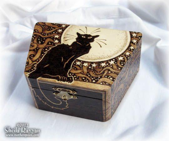 Chat Noir Box | Sheila Rayyan | Mother Spoon Studio | Pyrography