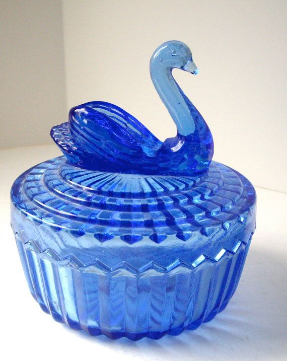 Vintage Swan Cobalt Blue Glass Dresser Powder.
