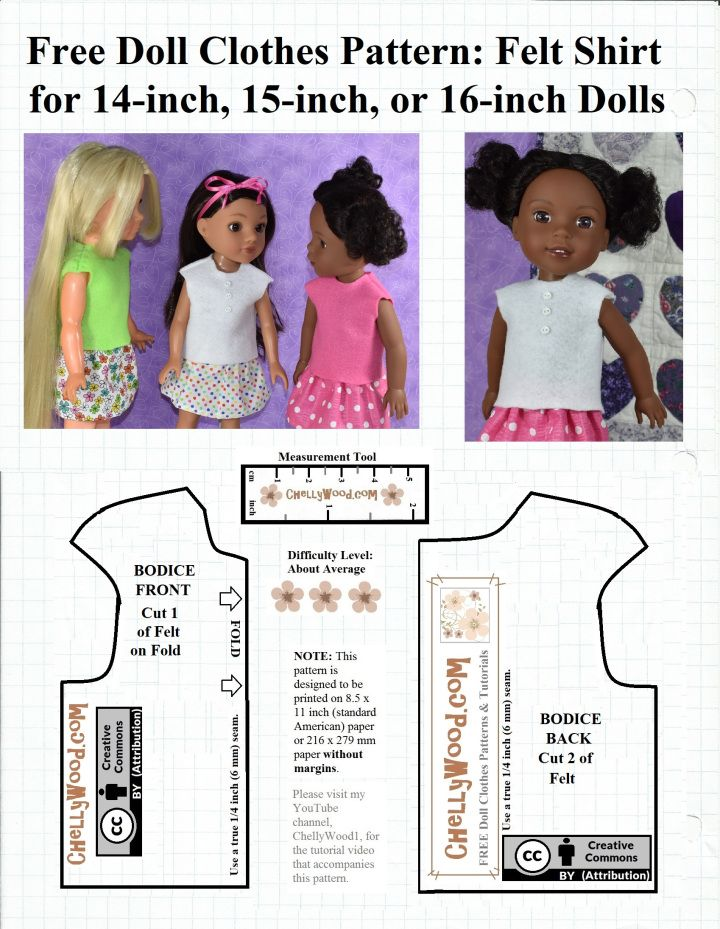 Free Sewing Pattern For A Felt Shirt To Fit 14 Inch 15 Inch And 16 Inch Dolls Doll Clothes Patterns Free Doll Clothes Patterns Baby Doll Clothes Patterns