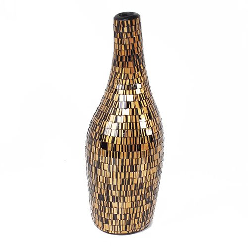 Galena Vase VAS007 - Glass Mosaic ( Gold on Black ) - Side Elevation - Dimensions : Height - 43 cm ( Overall ) Bottom - Diam. 12 cm Top : Diam. 5 cm