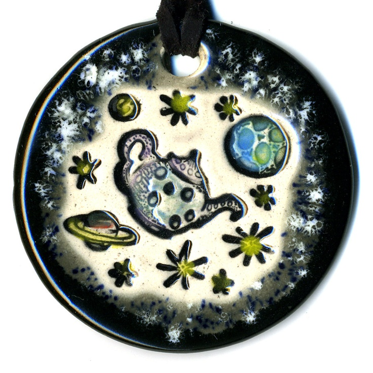 Russells Teapot Ceramic Necklace in Black and Gray by surly