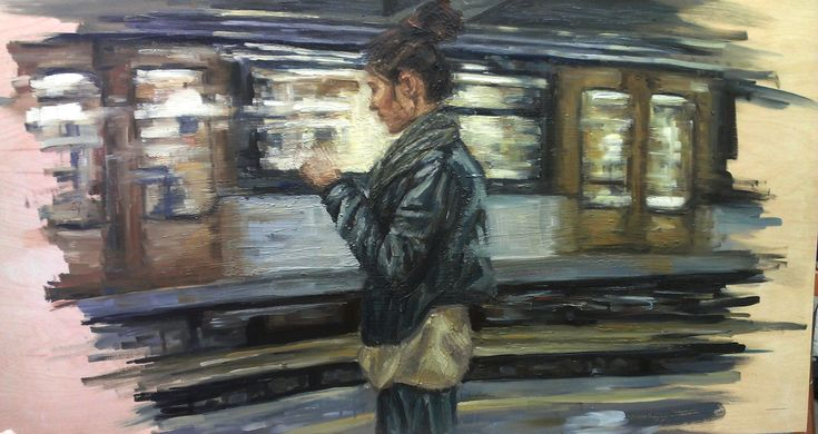 subway station  #oilpainting #wood #subway #art