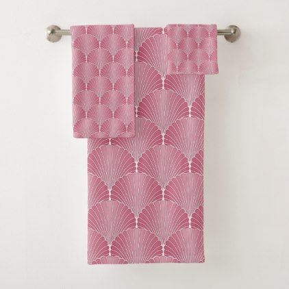 Fancy Pink Scallop Shells Pattern Bath Towel Set - fancy gifts cool gift ideas unique special diy customize