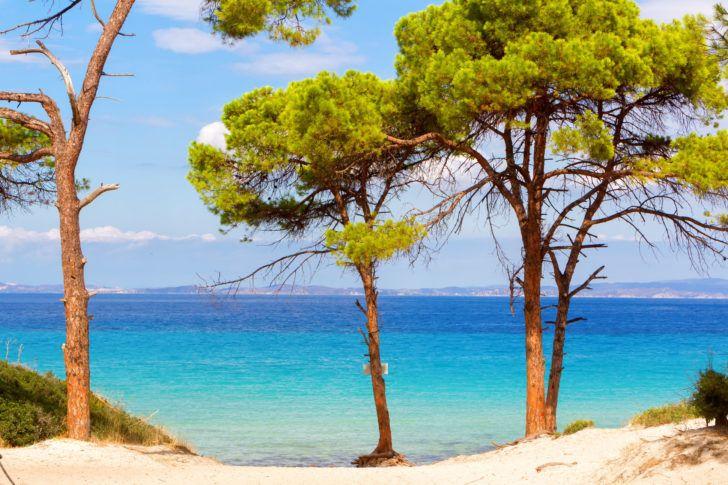 La plage de Vaï en Grèce