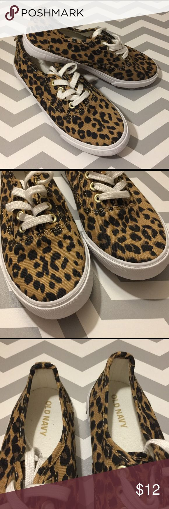 Leopard-Print Twill Sneakers - Girls Size 1 NWOT - Cute Old Navy leopard print sneakers in a Girls size 1. Twill upper, with lace-up front and all-over leopard pattern. Old Navy Shoes Sneakers