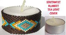 SOUTHWEST BLANKET BEADED TEA LIGHT CANDLE COVER by Suzanne Cooper