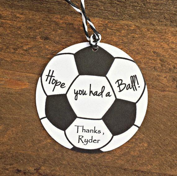 Soccer Birthday Party Tags - Hope You Had a Ball!, Boys Soccer Birthday