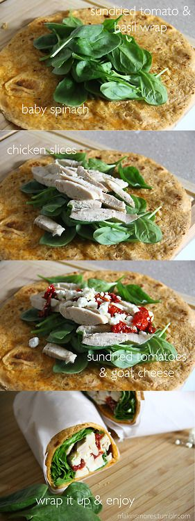 Sundried Tomato & Goat Cheese Chicken Wrap | served w. Greek Dressing on the side   Great packed lunch idea!