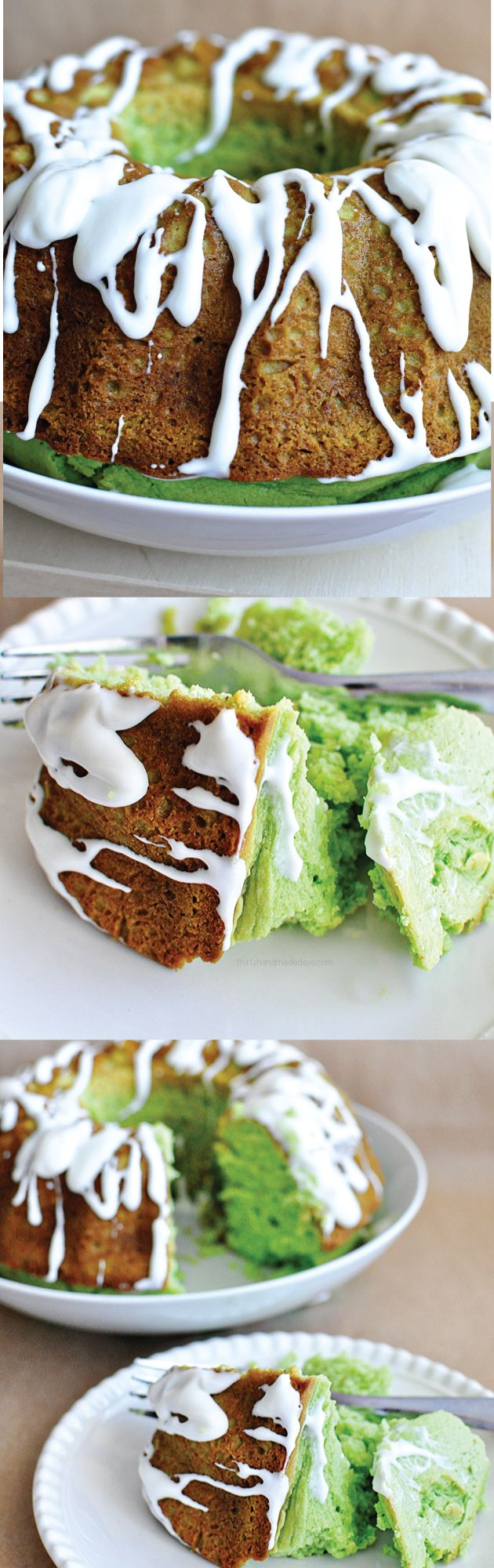 Light & fluffy Pistachio Bundt Cake with Cream Cheese Frosting Glaze using a boxed cake mix.  Easy to make and so good!