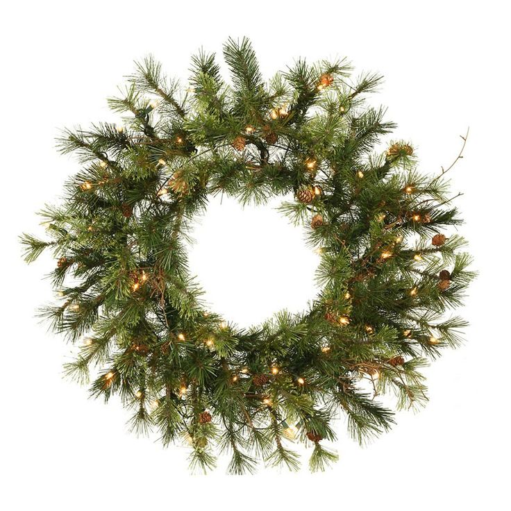 Vickerman 20 in. Mixed Country Pine Pre-Lit Wreath with 35 Clear Lights - A801821