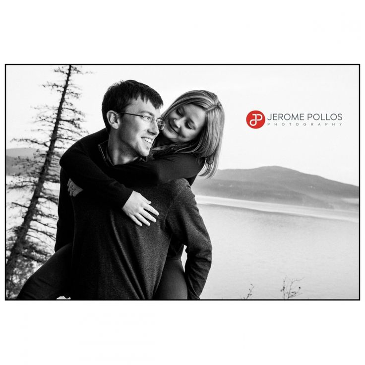 Sy is very supportive. #Autumn #CoeurdAlene #Couple #Engagement #Idaho #IdahoPhotographer #Outdoors #Portrait #TubbsHill #PiggyBack #BlackAndWhite