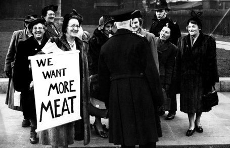 Members of the British Housewives' League demonstrating against food rations outside the House of Commons in 1951, six years after the end of the Second World War