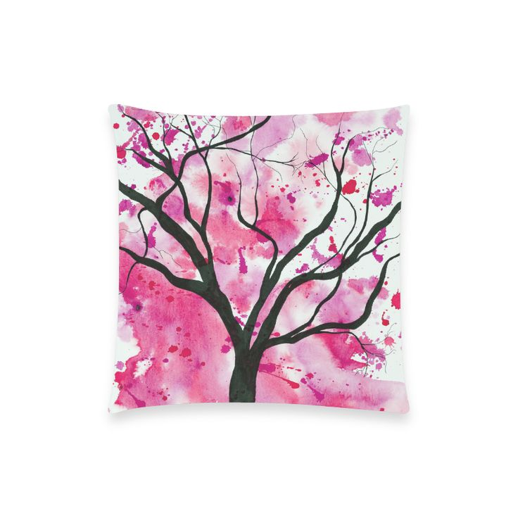 Red and Pink Abstract Tree Painting Custom  Pillow Case by Tracey Lee Art Designs