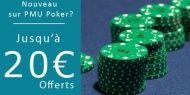 PMU Poker vous offre un bonus exceptionnel: 20 € offerts pour toute nouvelle ouverture de compte ! http://www.kalipoker-fr.com/bonus-et-promotions/20-offerts-sans-depot-sur-pmu-poker.html