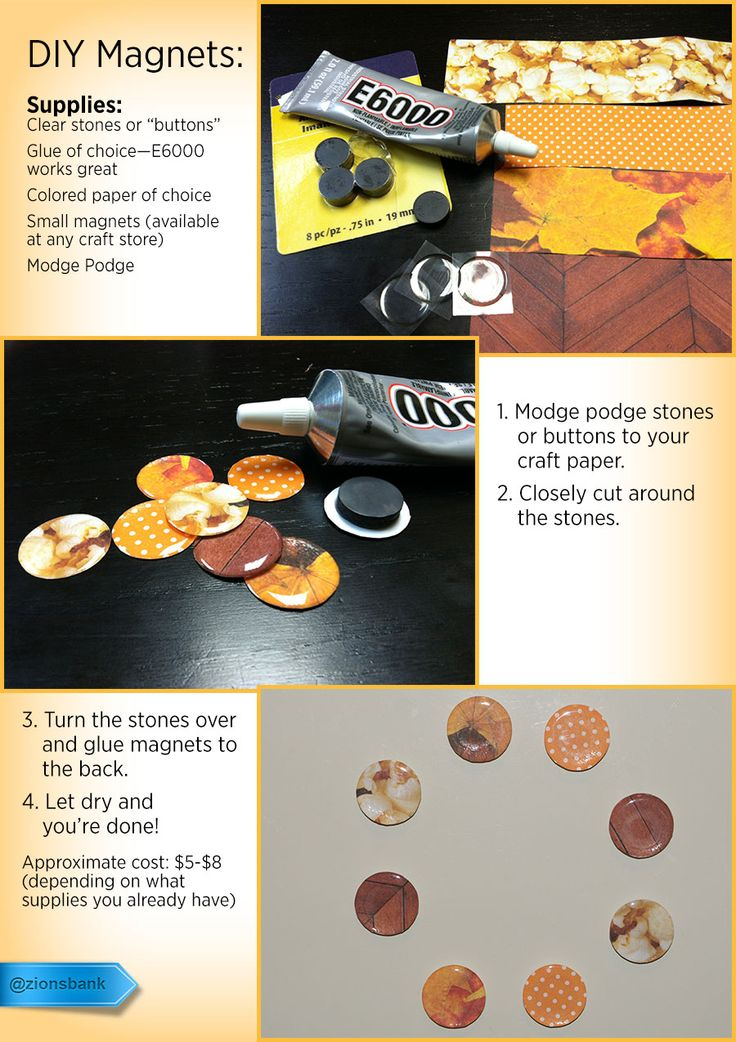 This is an easy, inexpensive craft that can add a quick touch of fall to your home. Make magnets for each season and swap them out regularly to keep things fresh and unique. #DIY #magnets #decorations #kitchen #modpodge #crafts #artsandcrafts