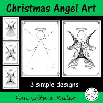 A Fun with a Ruler art project for your students to complete during the Christmas season.  There are 3 different templates to create 3 slightly different angels.  This project involves your students ruling straight lines between 2 dots on a template.  When they have finished drawing all of the lines they can give the head some detail (hair, eyes, mouth, etc) and give their artwork some colour.Included:   3x templates  black dots  3x examples  black/white   3 x instructions  Teacher…
