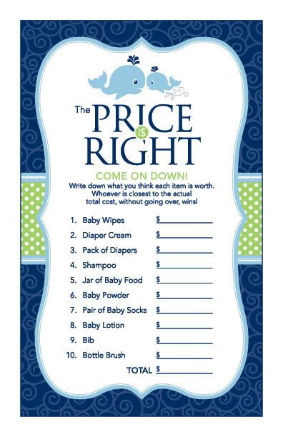 Instant Download Whale Price Is Right Game Blue by Studio20Designs