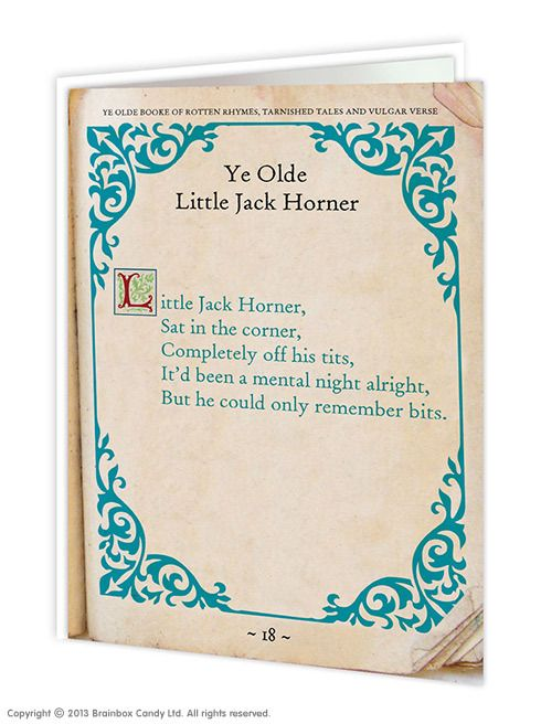 brainboxcandy.com - Little Jack Horner Greeting Card, £2.50 (http://www.brainboxcandy.com/little-jack-horner-greeting-card/)
