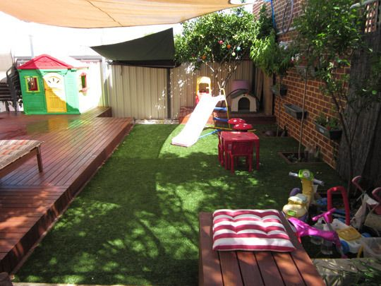 A Space for Playing and Lounging in with artificial grass!