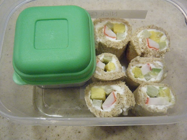 Sandwich bread Sushi with Krab, avacado, cucumber and cream cheese
