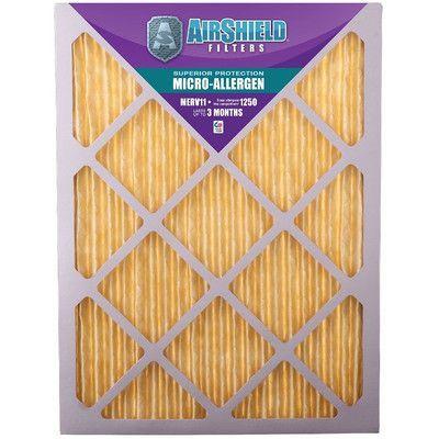 "AirShield MERV 11 Micro Allergen Air Filter Size: 25"" H x 14"" W x 1"" D"