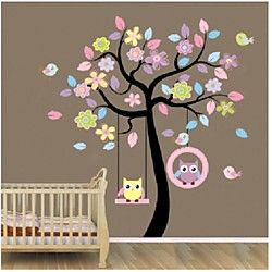 árbol colorido zooyoo®removable y búhos pared arte calcomanía etiqueta de la pared decoración hogar decoración mural etiqueta engomada del | LightInTheBox