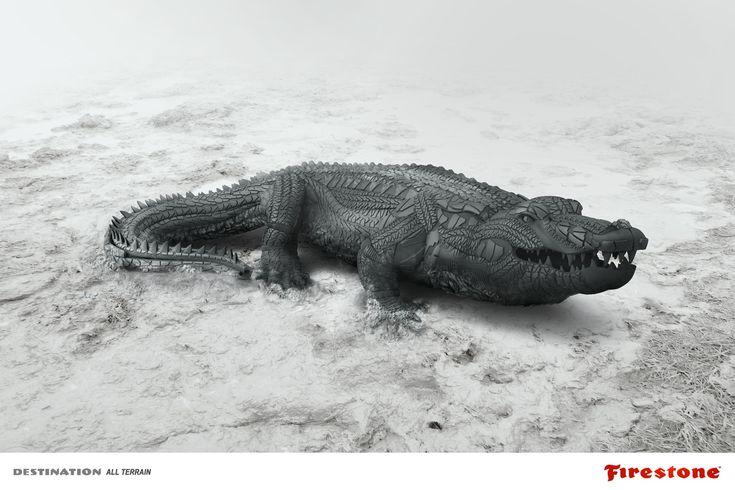 Après le cheval l'Alligator ! Encore une publicité originale signée #Firestone. Qui a dit que les #pneus n'étaient pas créatifs ?