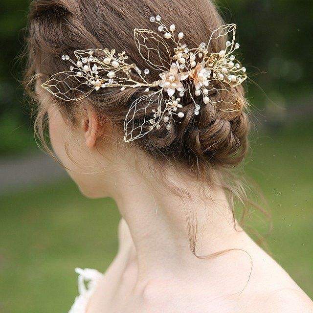 Prom headdress headpieces hair accessories bridal wedding hair ornaments bride gold flower flower mail flight free shipping