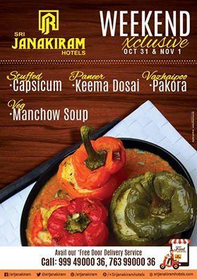 Weekend exclusive dishes #srijanakiramhotels , try this week on 31st October, 2015 and 1st November, 2015.  #stuffedcapsicum   #paneerkeemadosai   #vegmanchowsoup  and #vazhaipoopakora