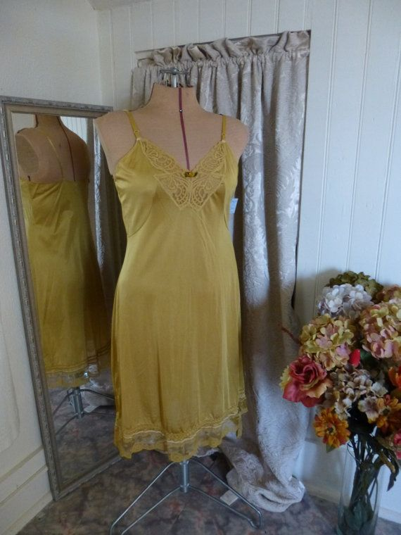 Glam Garb Slip Dress Golden Wheat Yellow Bra Size 38/40 Handmade USA Romantic Elegant Victorian Steam-punk Vintage Hand Dyed Embellished OOAK, $60.00 www.glamgarb.com