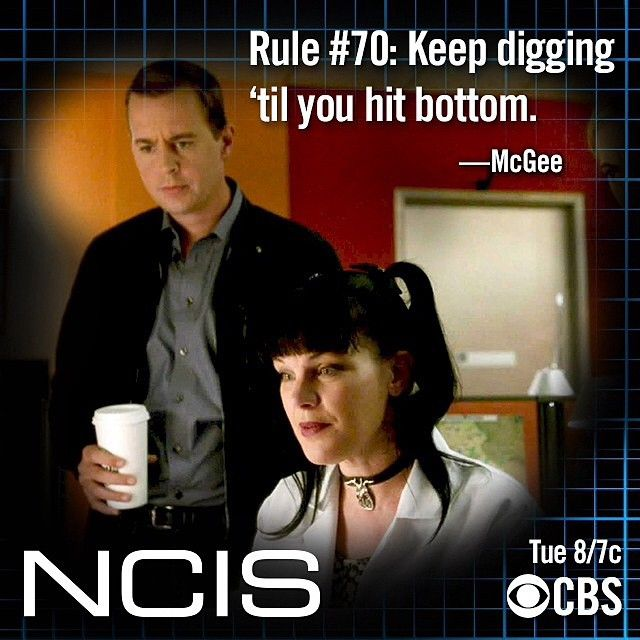 NCIS rule 70 McGibbs McGee (didn't know that any of the rules went that high!)
