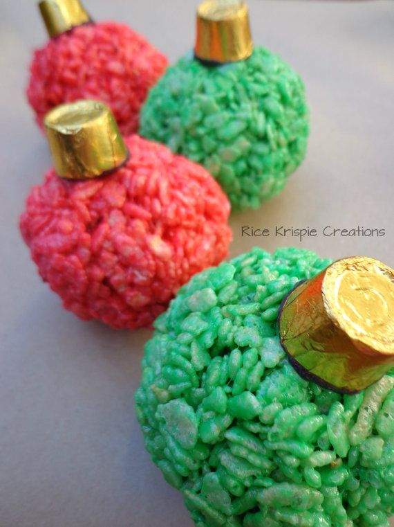 Christmas Ornaments Rice Krispie Treats 6 by RiceKrispieCreations, $9.00. This would also be super easy to make at home too!