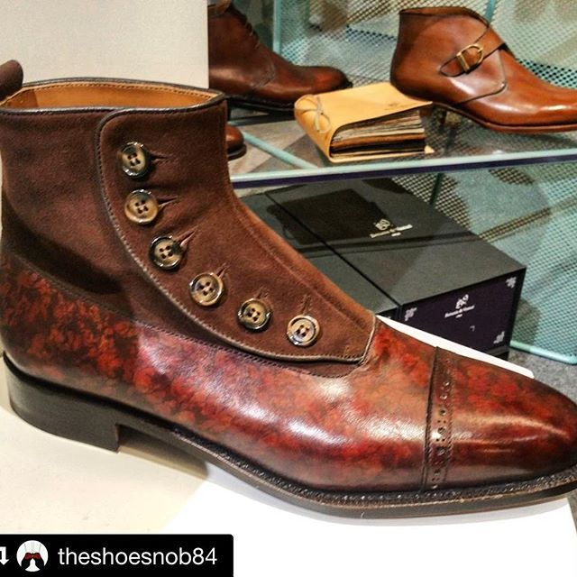 """""""Orsola"""" Our Heritage Button Up Balmoral Boot in Autumn Leaves Patina & Pecan Suede  Repost @theshoesnob84 #bettaninshoes #handwelting #thread #awl #italian #master #shoemakers #handcrafted #mensshoes #refined #elegance #timeless #style #craftsmanship"""