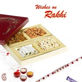 Decorated Dry fruit Box with Kaju Rolls and Rakhi to India, #Rakhi #RakhitoIndia #RakhiGifts #RakhiSweet