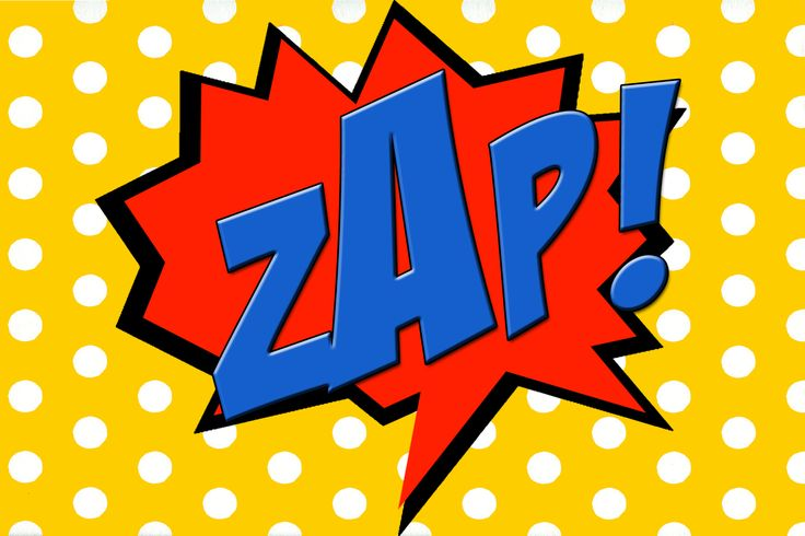 Free Printable ZAP! Comic Book Word.
