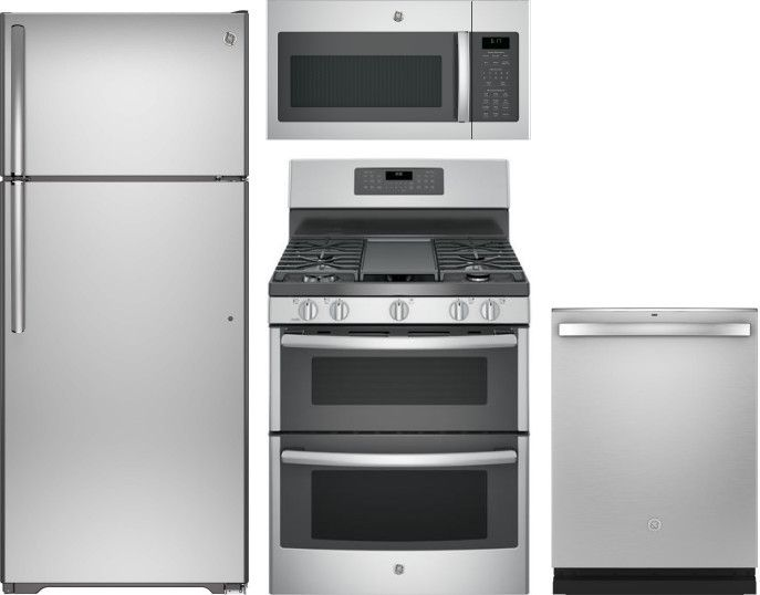 Ge 4 Piece Kitchen Appliances Package With Top Freezer