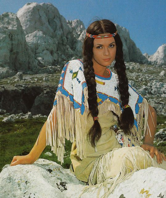 Apache indian girl ~ Marie Versini from Karl Mays German/Croatian movie 'Winnetou and Old Shatterhand' (1964).