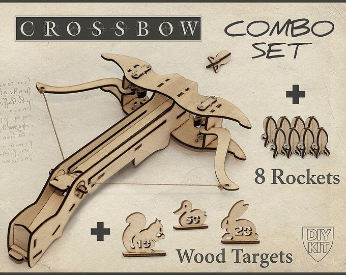Wood Crossbow DIY Kit With targets. Gift For Him, Father Husband Gift, Boyfriend Gift. DIY Crossbow, Gift For men, Archery, Crossbow CRB02T