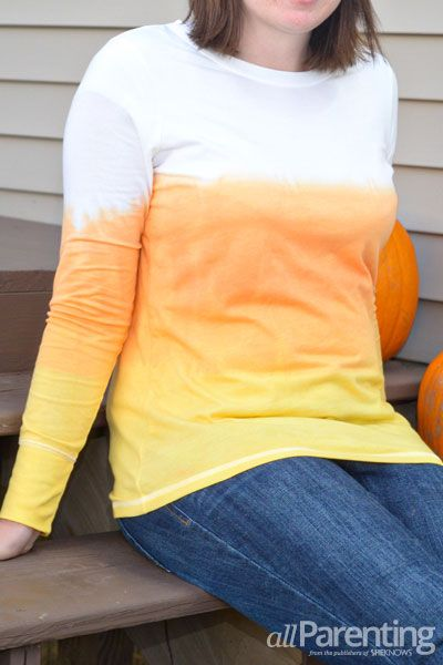 allParenting dip-dyed candy corn tshirt: Tutorial by my friend Amy!