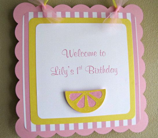 Pink Lemonade Party Door Sign by ScrapYourStory on Etsy, $21.95