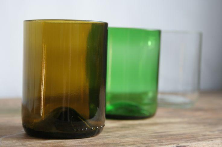Trinkgläser aus Weinflaschen. #upcycling #DIY