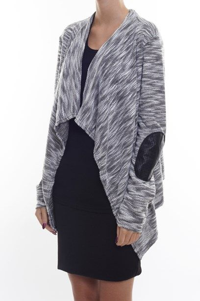 IDIRIS CARDIGAN Woven cardigan with elbow patch. - nice for the office outfit. says Creme Fraiche. DK