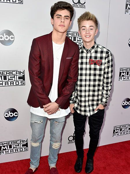 Jack Glinsky and Jack Johnson of Jack and Jack on the #AMAs red carpet ripped jeans, untucked shirts - what did Mama tell you