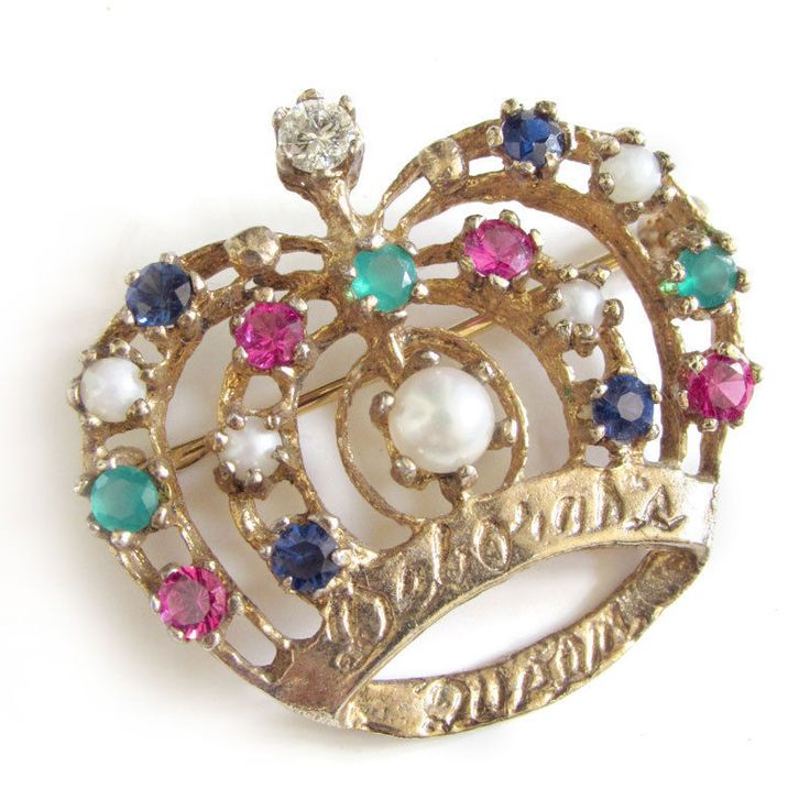 Vintage DEBORAH HEART HOSPITAL Donor Pin Diamond, Pearl & Gemstone Crown Brooch #Unbranded