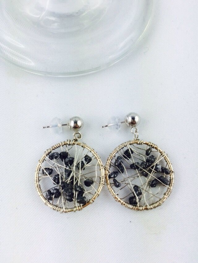 14 K Solid White Gold Earrings with Black Diamond