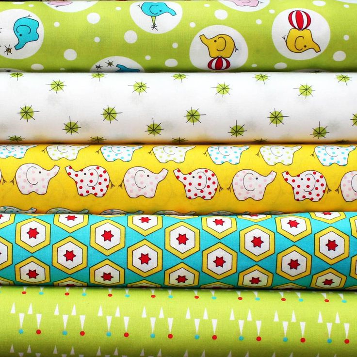 BACKYARD CIRCUS GREEN - FQ Bundle of 5 - Ella Blue Fabrics